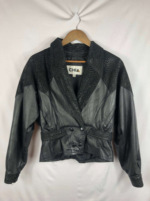 Black Leather Jacket W/ Cheetah Print- Size: Small