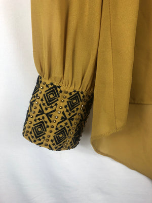 Cuff Detailed, Sheer Mustard Blouse Size: Medium