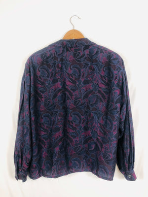 Deep Floral Print Christian Dior Blouse Size: 8