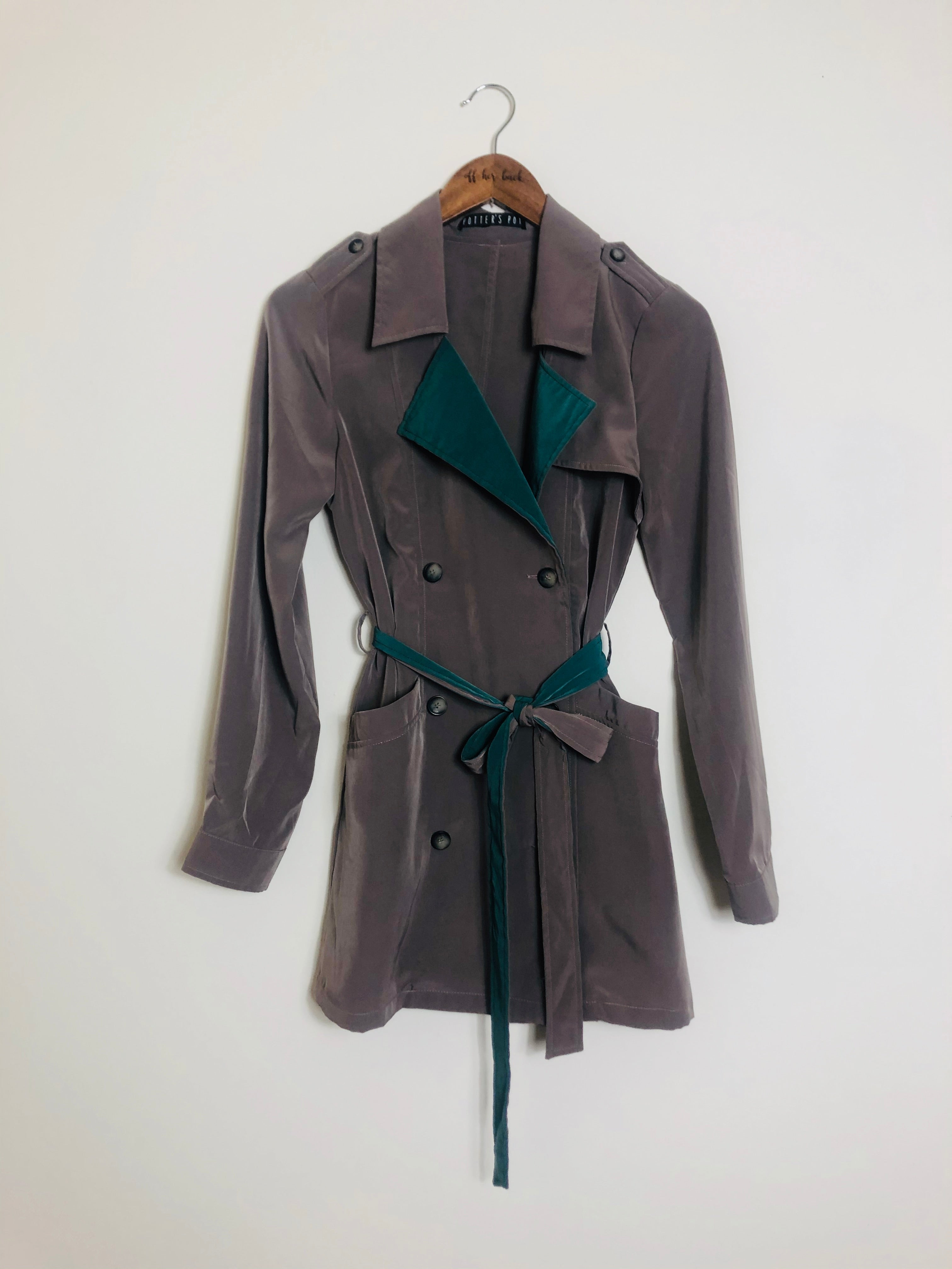 Green Peekaboo Taupe Trench-Size: Small