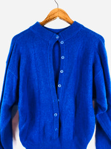 Royal Blue Back Button Up Sweater Size: Medium