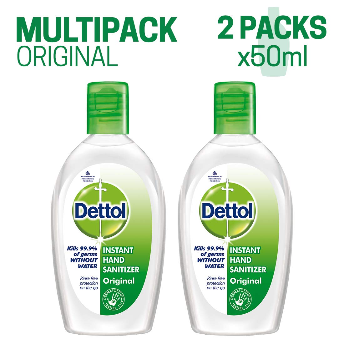 Dettol Instant Hand Sanitizer 50 Ml Pack Of 2 Work Staples
