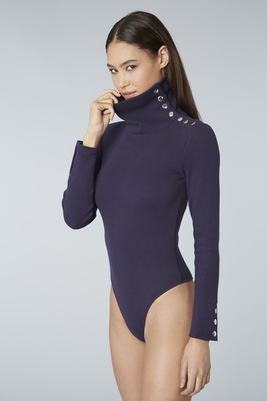 Snap Collar Ribbed Knit Bodysuit