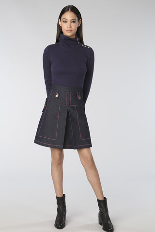 Box Pleat Raw Denim A-Line Skirt