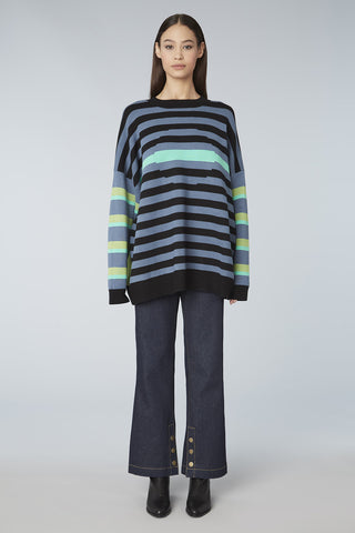 Colorblock Striped Oversized Sweater