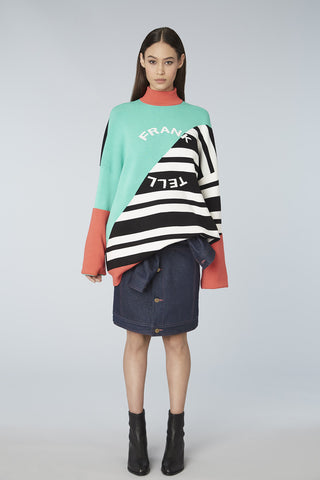 Colorblock Logo Mock Neck Oversized Sweater