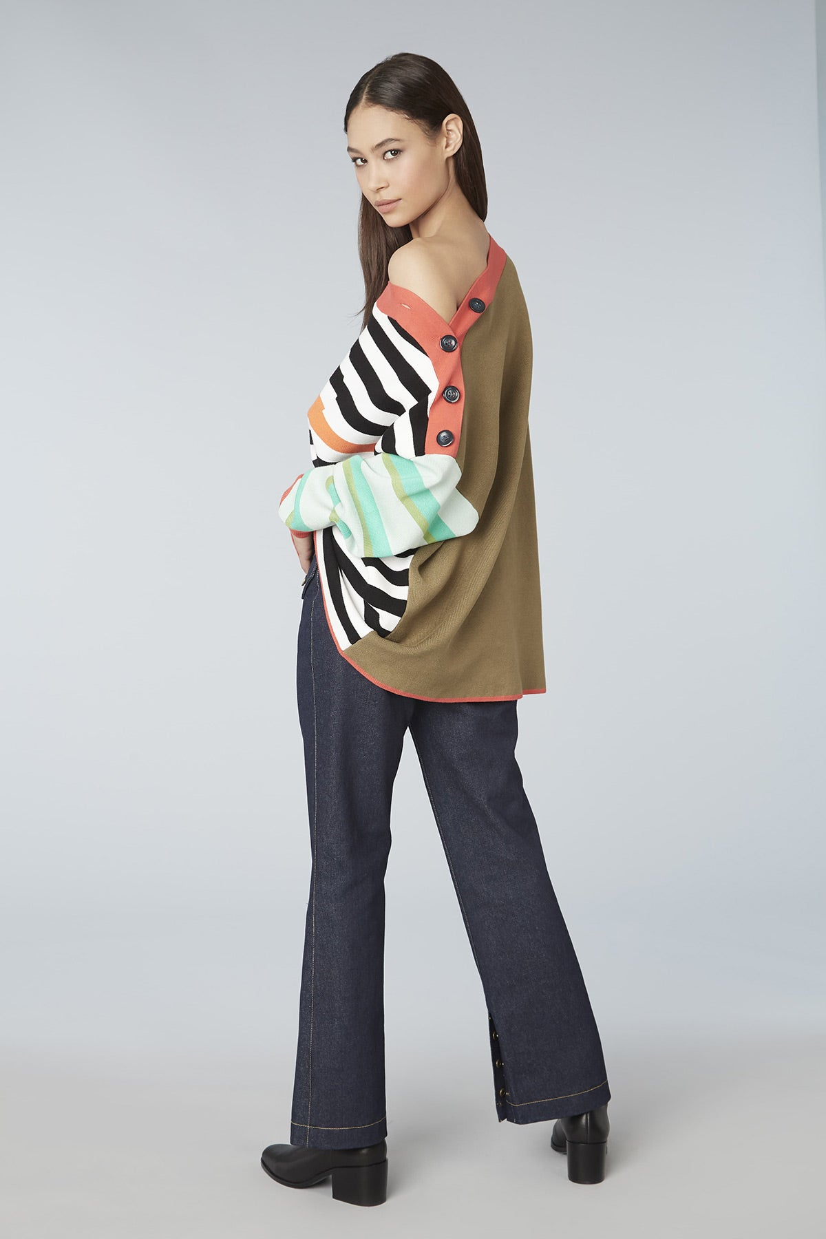 Colorblock Button Trim Oversized Sweater