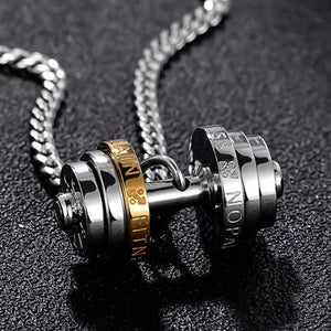 Stainless Steel Barbell Necklace