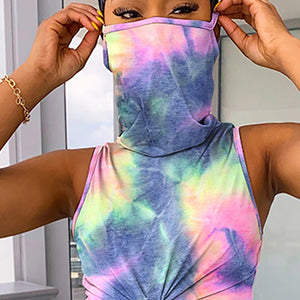Masked Cropped Tank Top