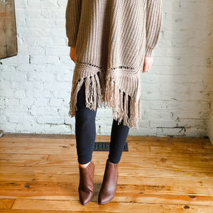 Tan Sweater Dress With Fringe Bottom
