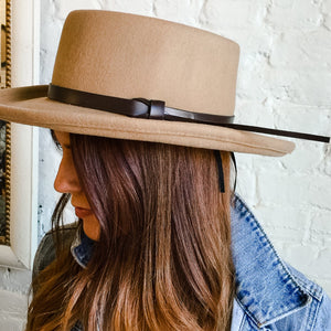 Tan Felt Fedora With Brown Band