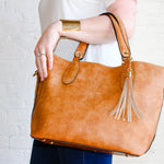 Golden Brown Vegan Leather Bag with Tassel
