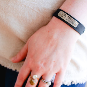 Black Leather Bracelet with Be Kind Silver Plated Message