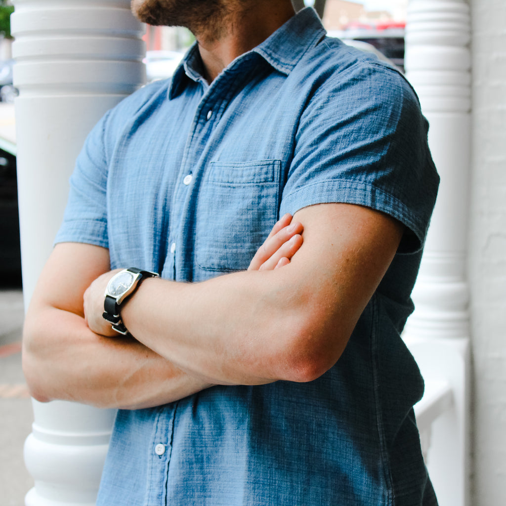 short sleeved, denim, mens shirt.