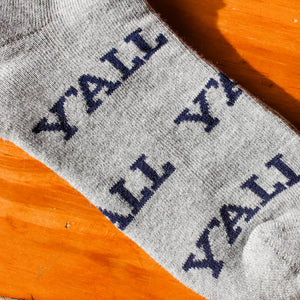 Y'all, Southern socks in grey.