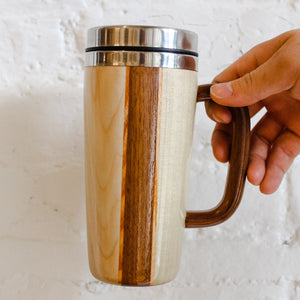 Handcrafted Sustainable Wood Mug, Large with Handle