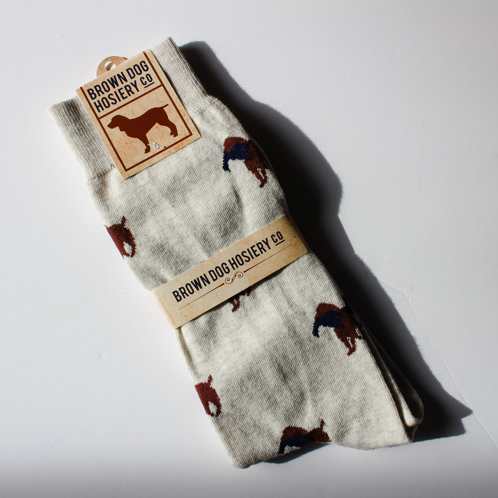 grey hunting retriever dog socks