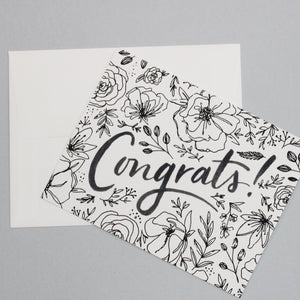 Black and White Floral Congrats Card