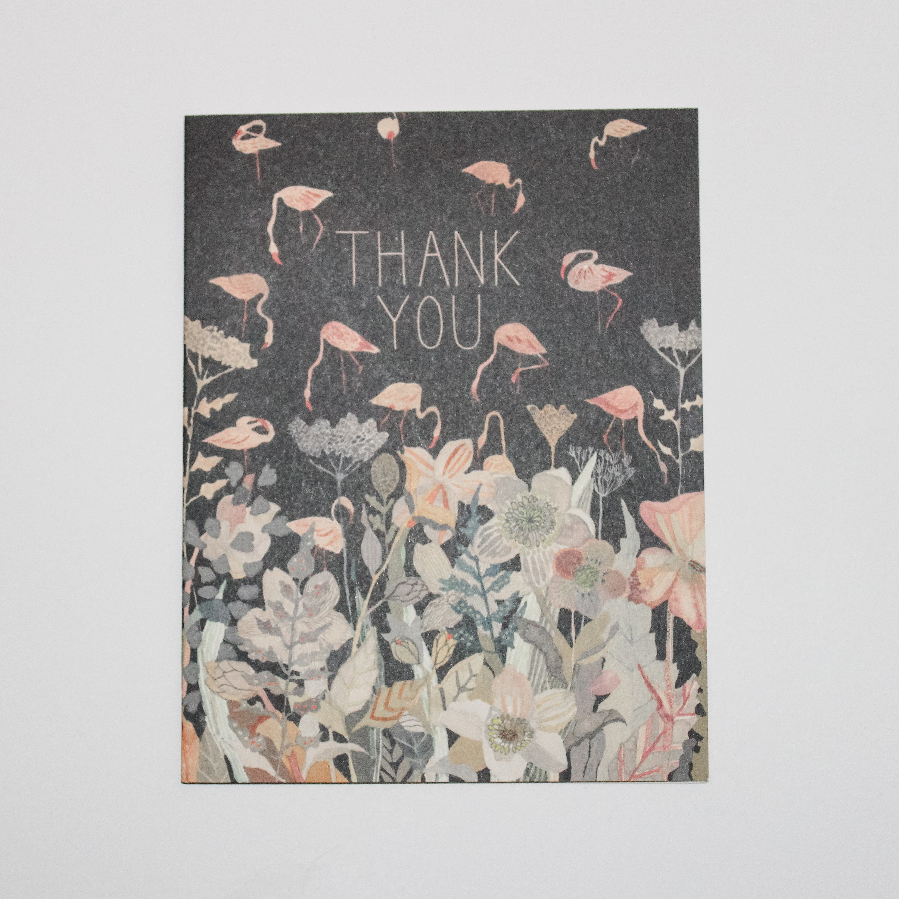 Thank You Card With Dark Background and Flamingos