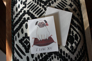 Dog on Pillow, I Love You Card
