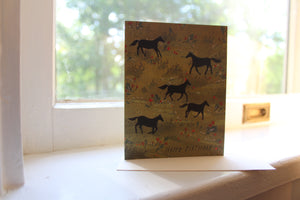 Horses in a Field Happy Birthday Card