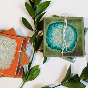 Coral and Blue Coasters