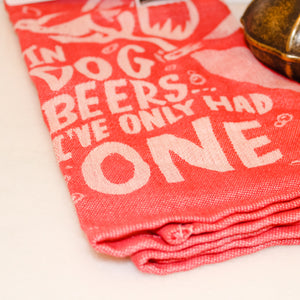 Red Dish Towel With Clever Saying