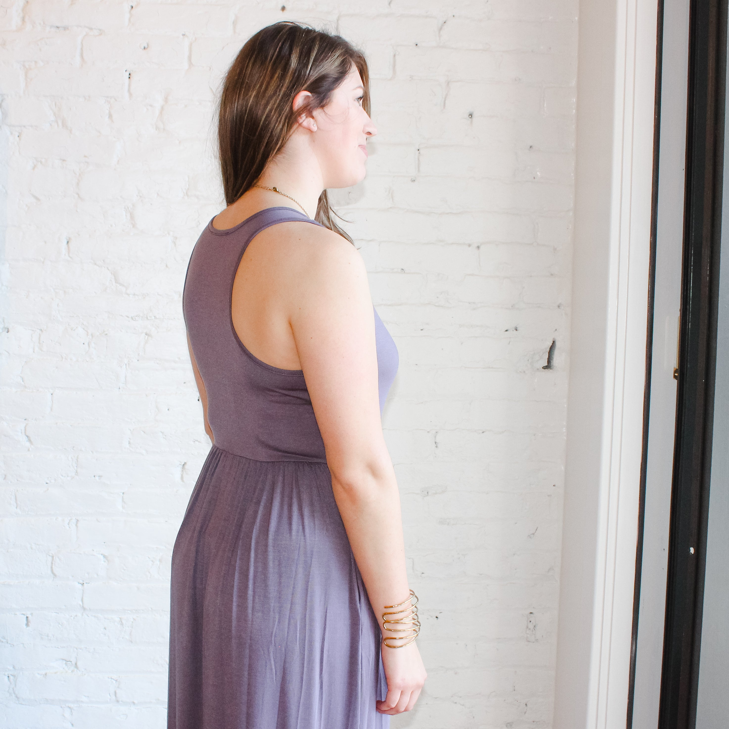 comfortable, soft, purple maxi dress.