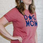 red, comfortable dog mom tee shirt.