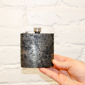 Black Flask With Map of Nashville