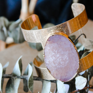 Electroplated natural stone cuff