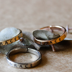 """Grace"" Engraved Mixed Metals Stackable Rings"