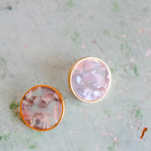 Medium Large Taupe and White Marbled Stud
