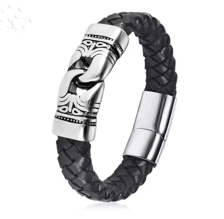 Braided Leather Stainless Steel Bracelet