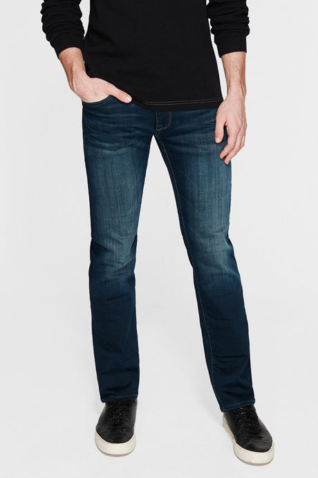 Men's dark blue stylish denim pants, high quality