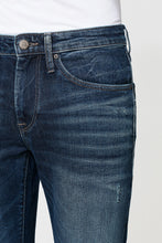 Load image into Gallery viewer, Men's dark blue denim pants with a worn effect