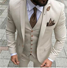 Load image into Gallery viewer, Beige tuxedo. Jacket, Vest, Pants