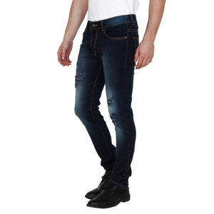 Men's blue ripped jeans trousers