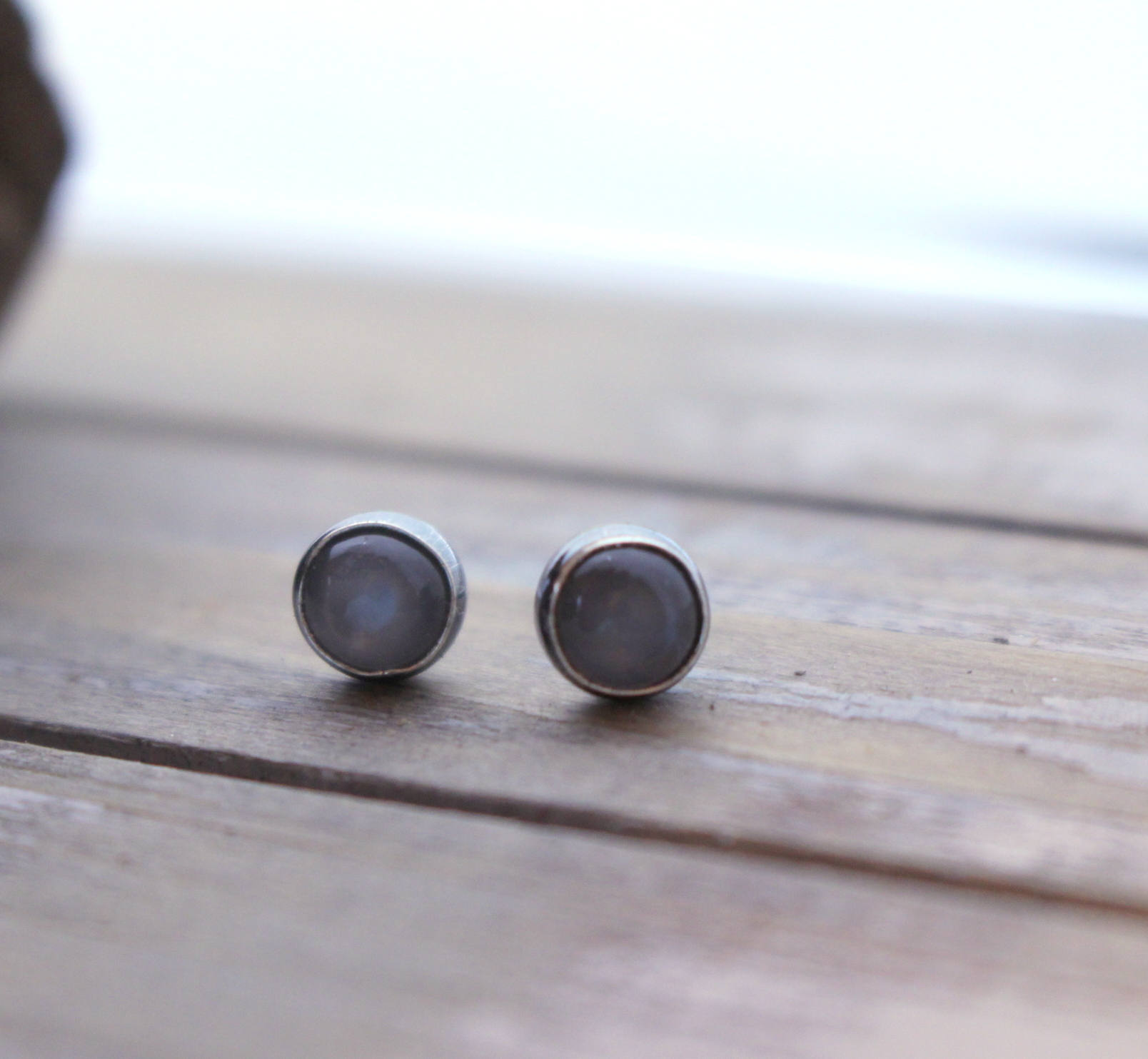 Gray Moonstone Stud Earrings - 5mm