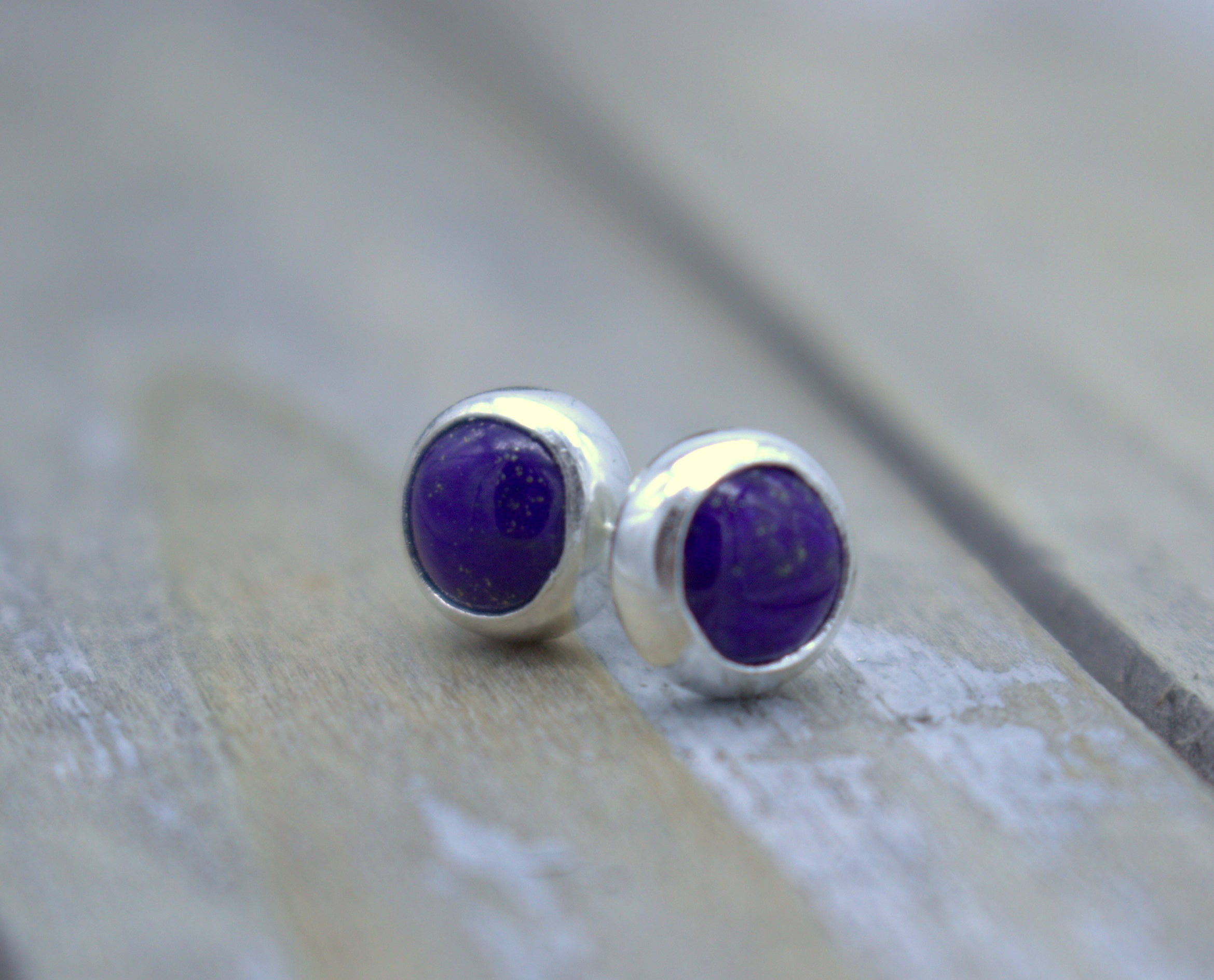 ON SALE - Blue Lapis Stud Earrings - Sterling Silver Earrings - Lapis Jewelry - Gift for her - Jewelry sale - Blue - Petite