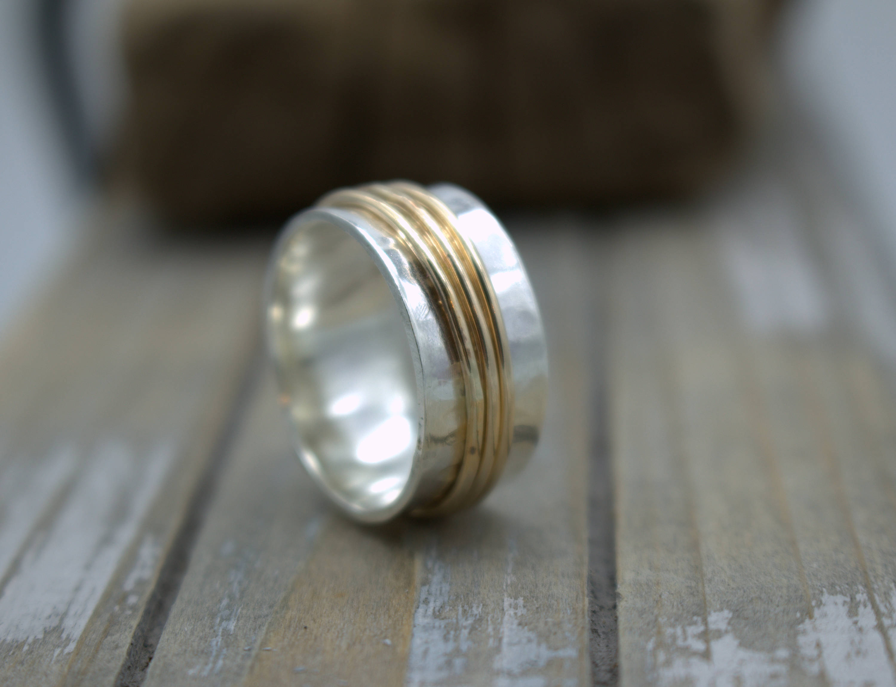 Spinner Ring - Gold Silver Meditation Ring - Gift for her - Jewelry sale - wide band ring