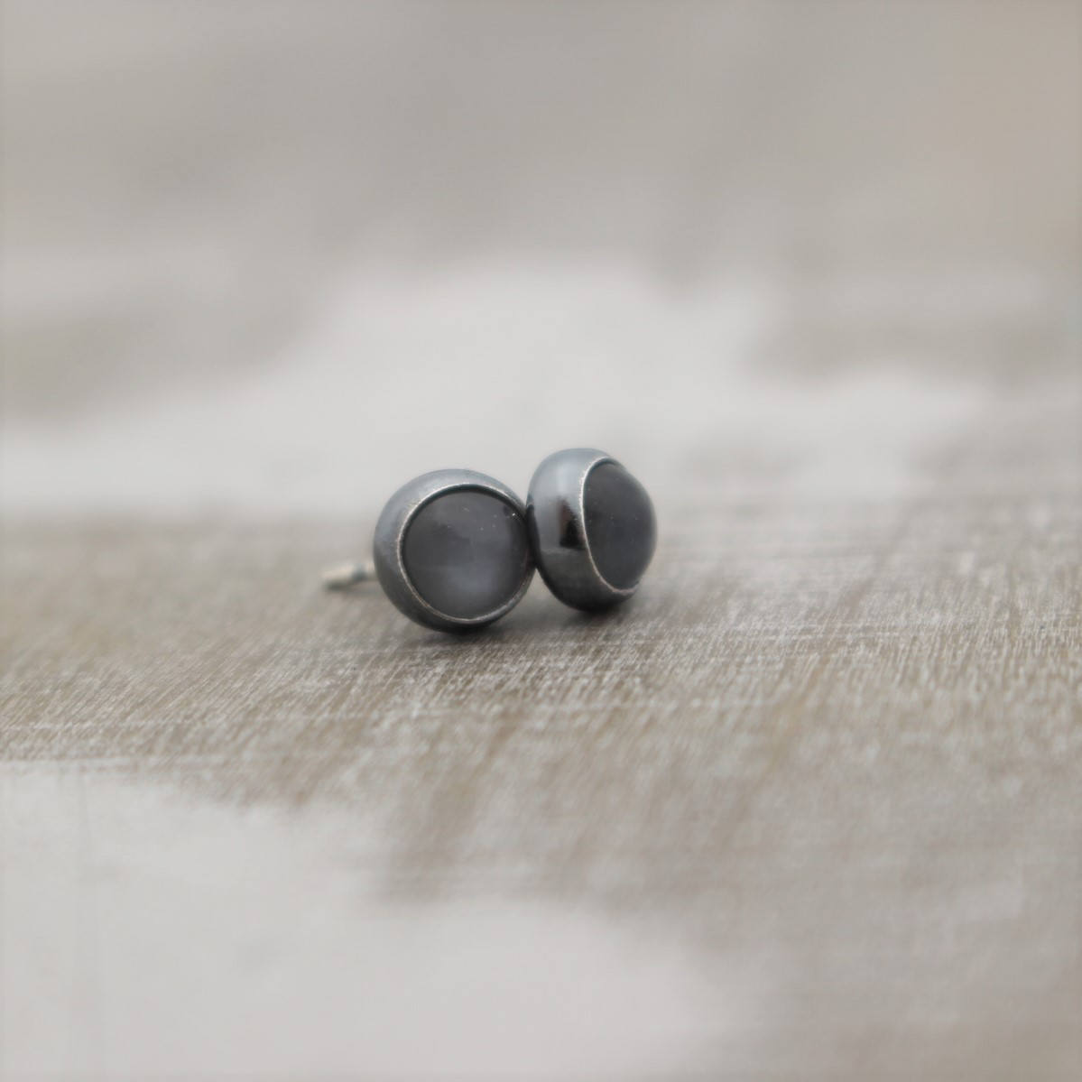 Gray Moonstone Stud Earrings - 6mm studs