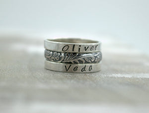 Personalized Ring Set - Sterling silver ring - Patterned Band - Gift for her - Name ring - Mother - Grandmother - Jewelry sale