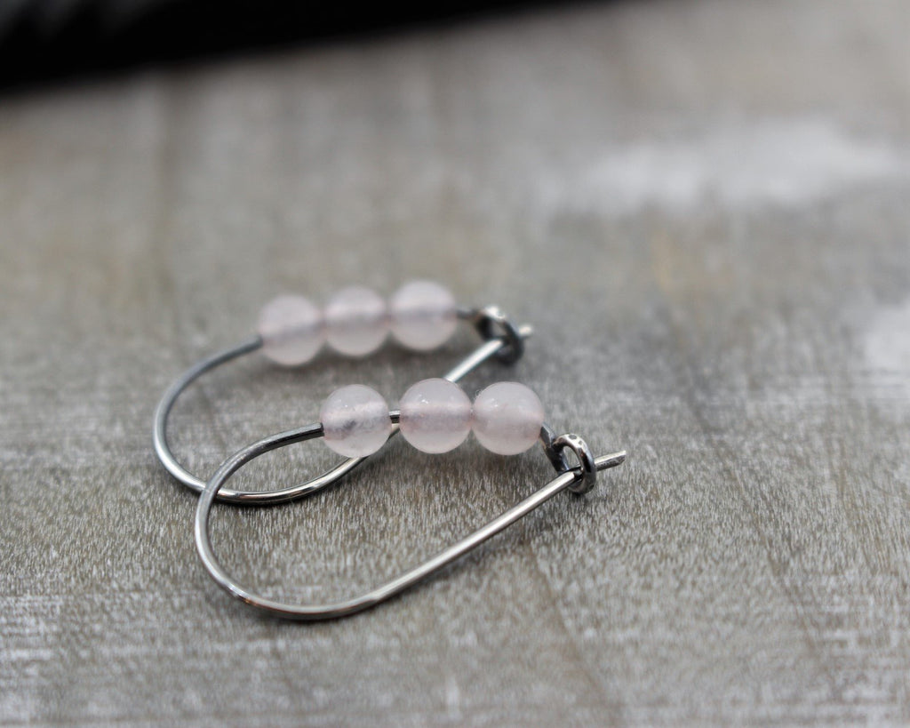 Rose Quartz Hoops - Small Hoop Earrings - Gift for Her - Jewelry Sale