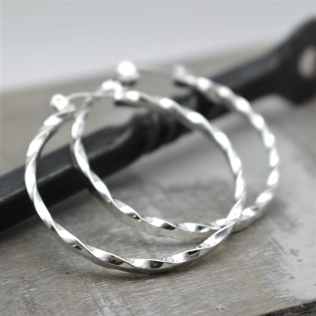 "Silver Twisted Hoop Earrings, Sterling Silver 1.5"" Lever Earrings, Simple Hoops, Gift,  Mother"