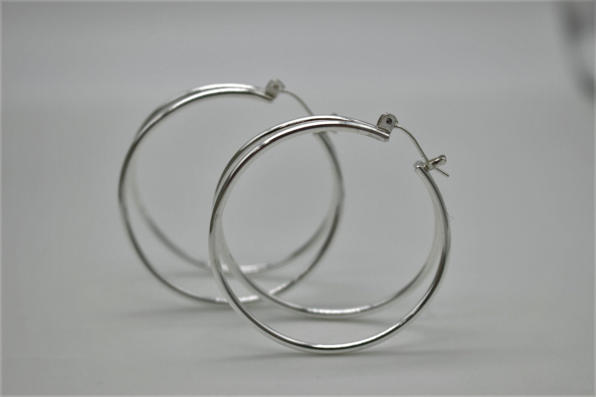 Large Double Hoop Earrings - Sterling Silver Hoops - Gift for her - Jewelry sale - Large hoops