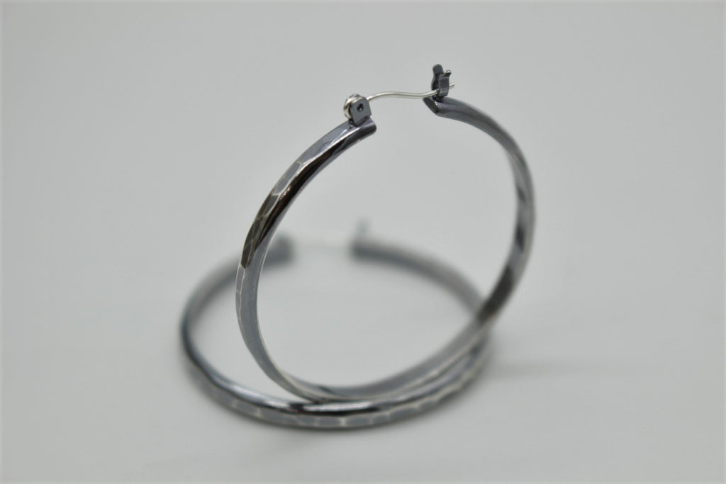Large Hoops - Sterling Silver Hoop earrings - 1.5 inch Rustic hoops - gift for her - jewelry sale