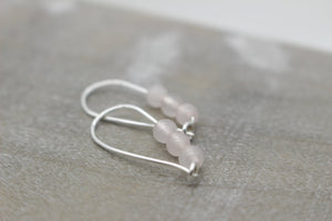 Rose Quartz Hoops - Sterling Silver Hoop Earrings - Gift for Her - Jewelry Sale - Small Hoops