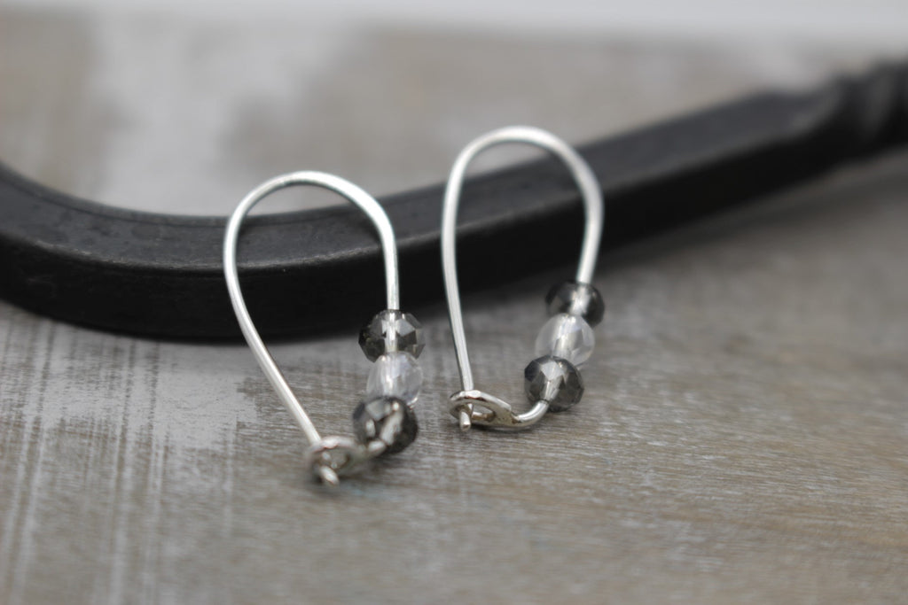 Black & White Crystal Hoop Earrings