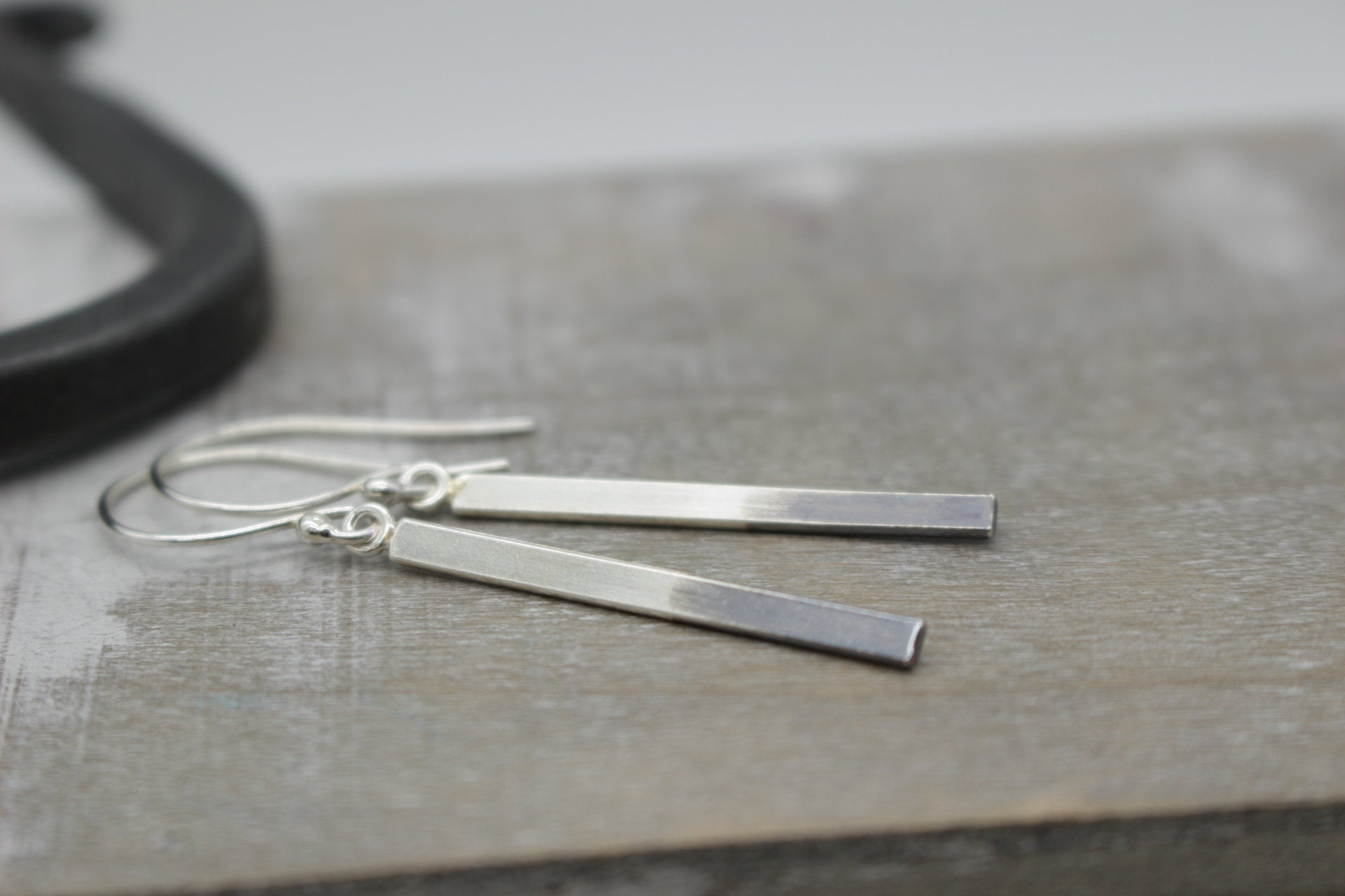 Ombre Sterling Silver Bar Earrings - Dangle Earrings - Gift for her - Jewelry Sale - Minimalist Earrings